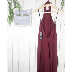 LULUS moment for life 🍷 wine red halter jumpsuit